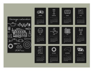 hand drawn calendar for garage