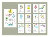 Photo hand drawn interior calendar