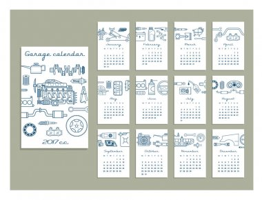 hand drawn calendar for garage