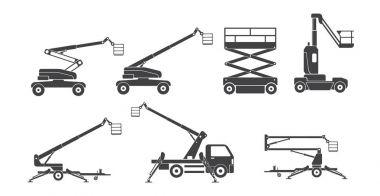 set of lifting machine icons