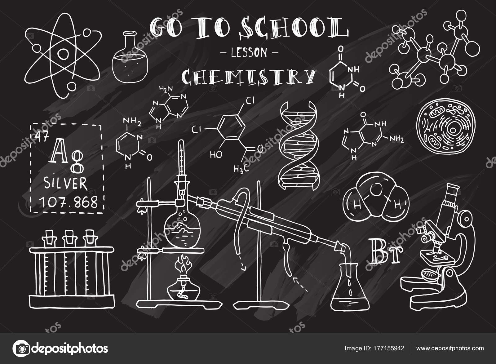 chemistry hand sketches theme chemistry chalkboard vector illustration stock vector