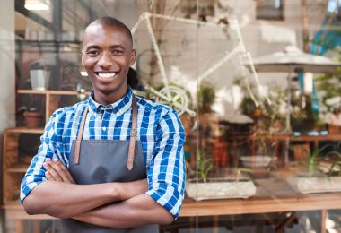 African entrepreneur smiling
