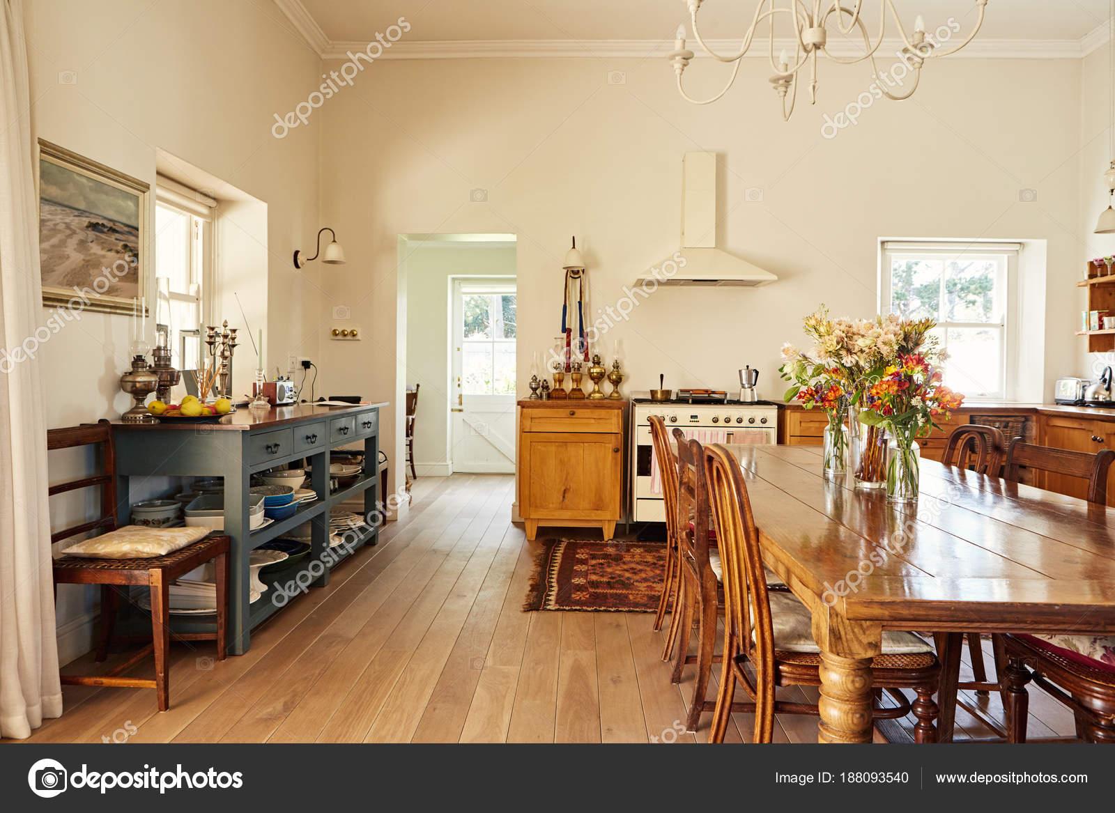 Wnętrza Kuchnia Stylu Duży Kraj Mieszkalnych Domu Drewnianym