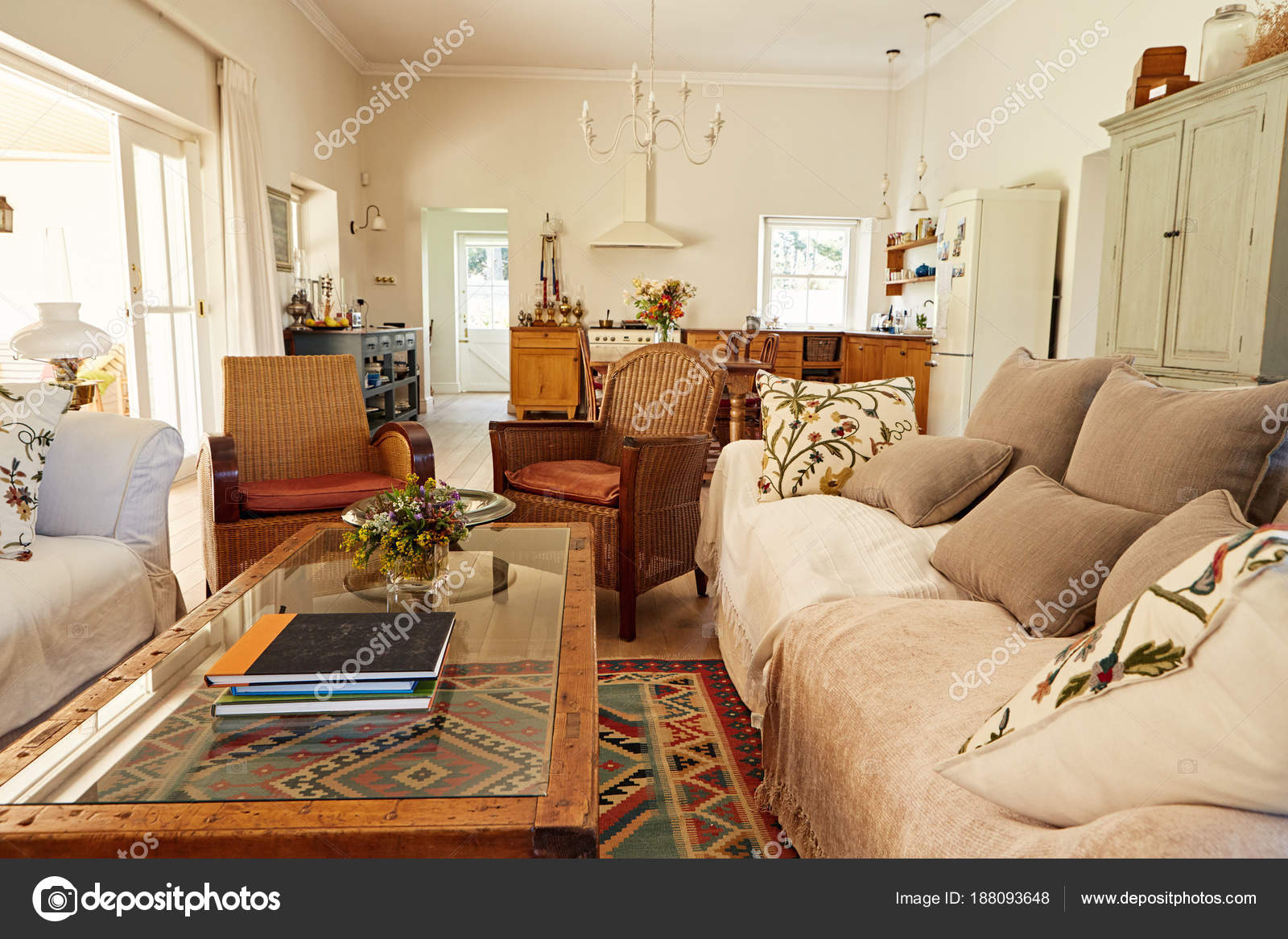 Interior Comfortable Living Room Country Style Residential