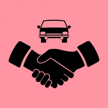car and handshake simple icon