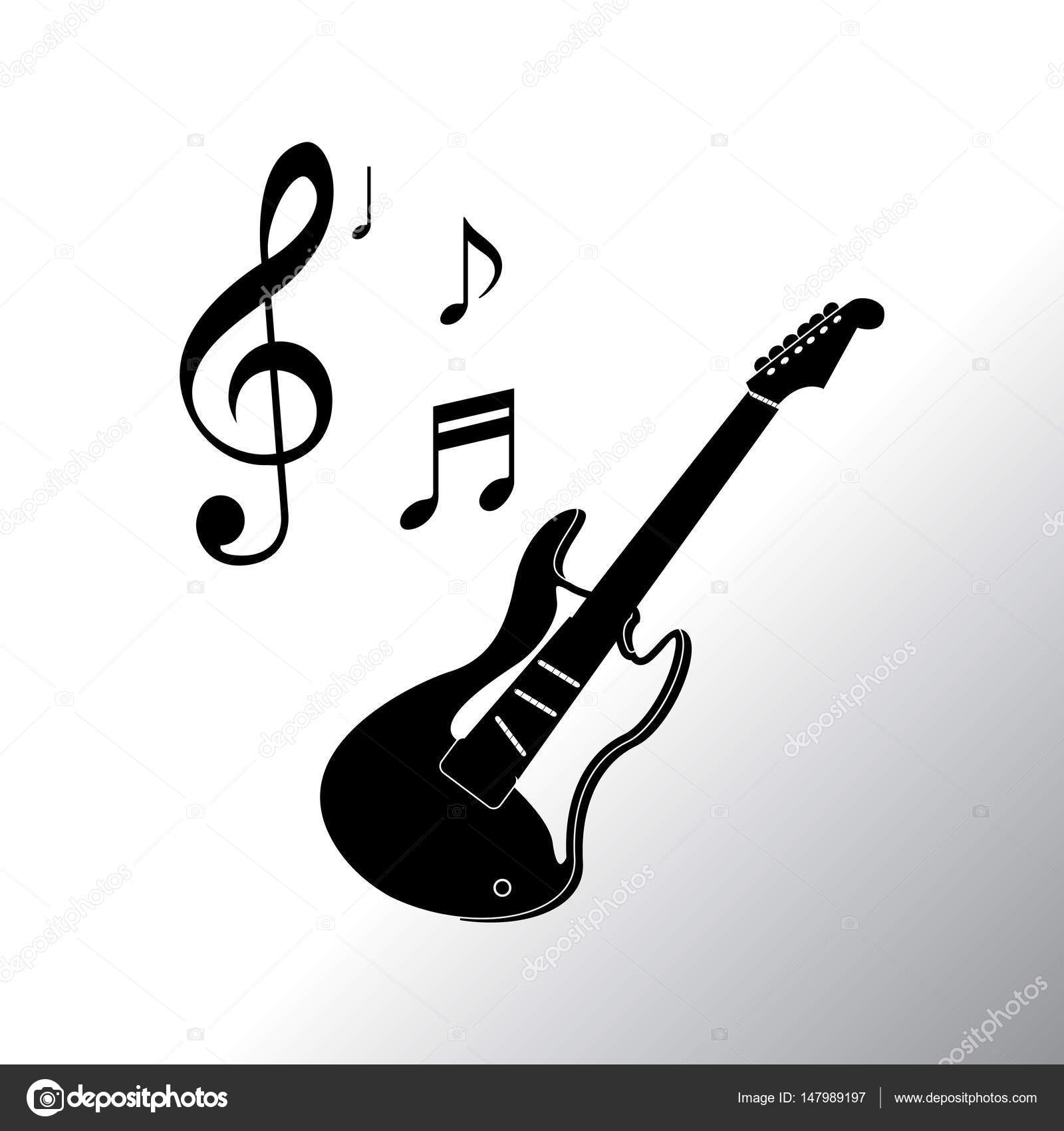 Guitar With Notes Symbols Icon Stock Vector Risovalka2015ail