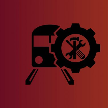 Train repair simple flat vector icon on gradient red
