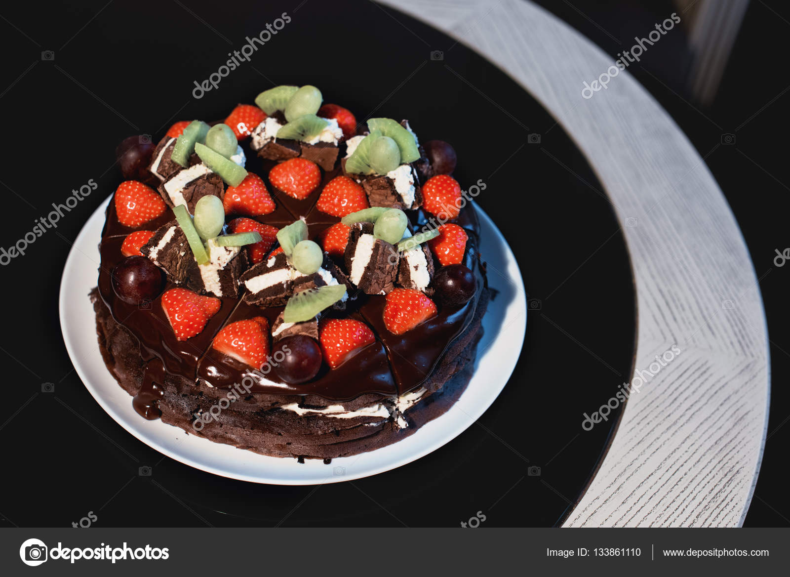 Beautiful Chocolate Cake With Fresh Berry Stock Photo C Kowalewa