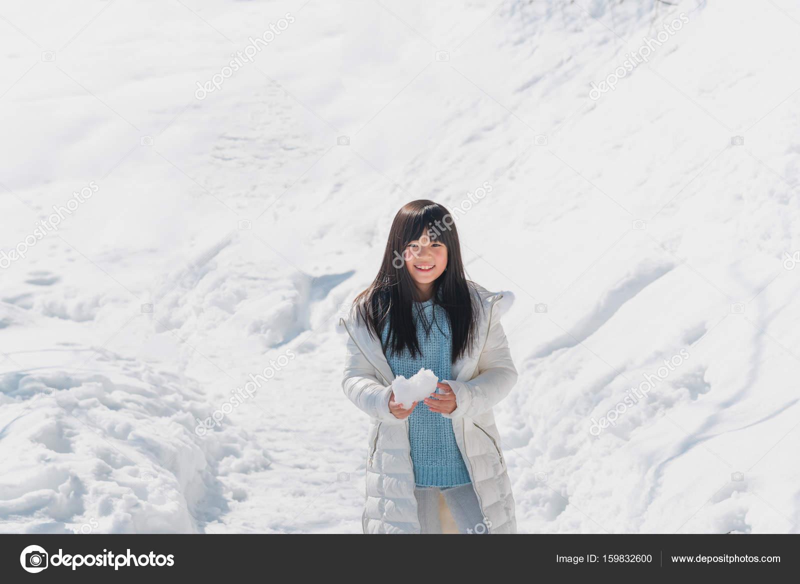 Asian girl in snow