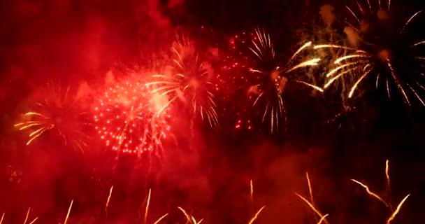 A tűzijáték boldog új évet ünnepel 2020-ban, július 4-én. színes tűzijáték az éjszaka, hogy megünnepeljük a nemzeti ünnep. visszaszámlálás 2020-ig party time event.
