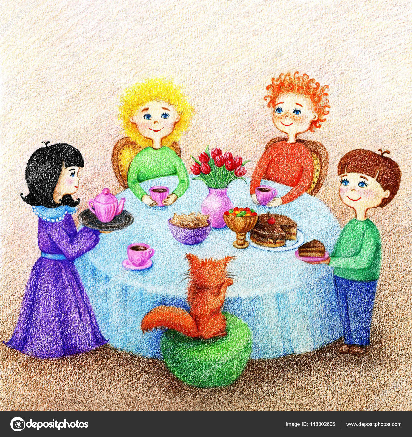 Gedeckter tisch gezeichnet  gezeichnete Bild der vier Kinder und rote Katze sind an einem ...