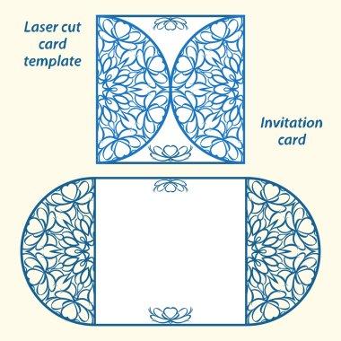Lazercut vector wedding invitation template.