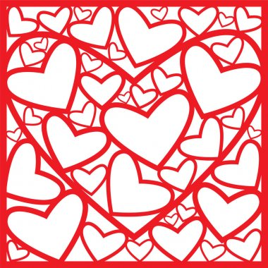 Greeting card of red hearts.