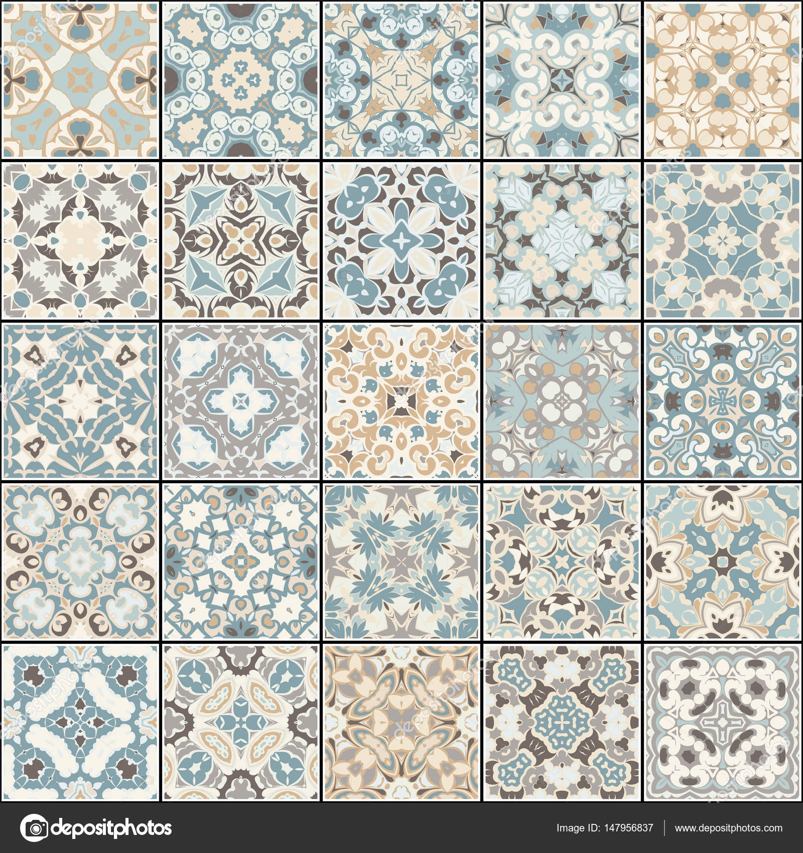Collection of different vintage tiles — Stock Vector © i0645495 ...
