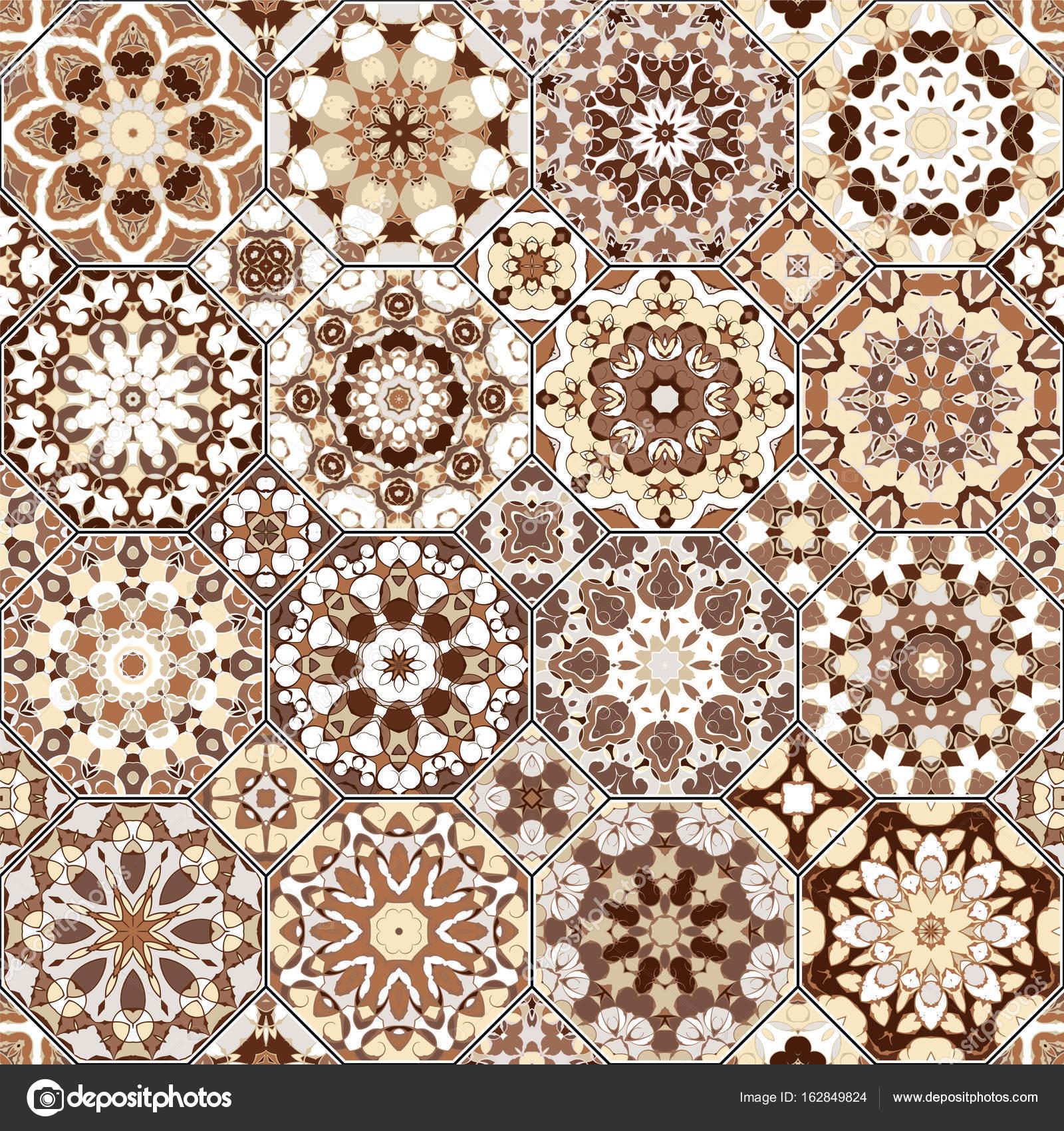 Vektor Sammlung Von Quadratisch Und Achteckig Musterdesigns Im  Orientalischen Stil. Eine Reihe Von Mehrfarbigen Fliesen U2014 Vektor Von  I0645495@gmail.com