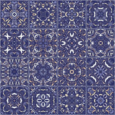 A collection of ceramic tiles in retro colors.