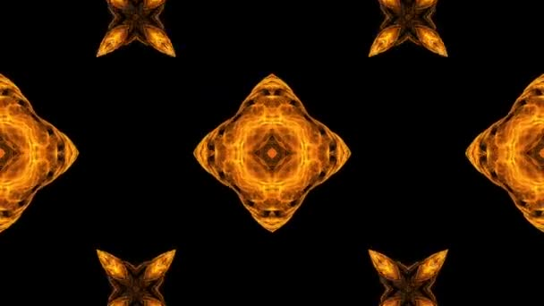 Colorful fractal background. Kaleidoscope of color in endless motion. Gold abstract patterns for meditation, yoga, show, mandala, fractal animation. Seamless loop.