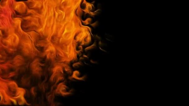 Požární vír na černém pozadí.