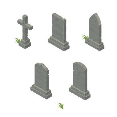 Isometric Vector Gravestone Icon Set.