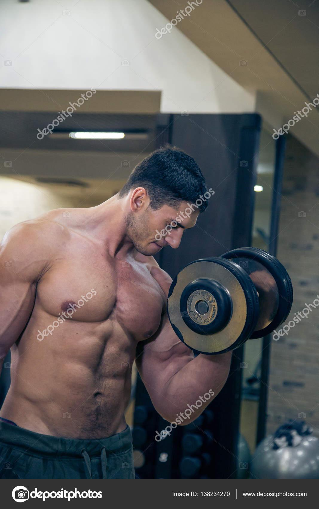 Naked men exercise