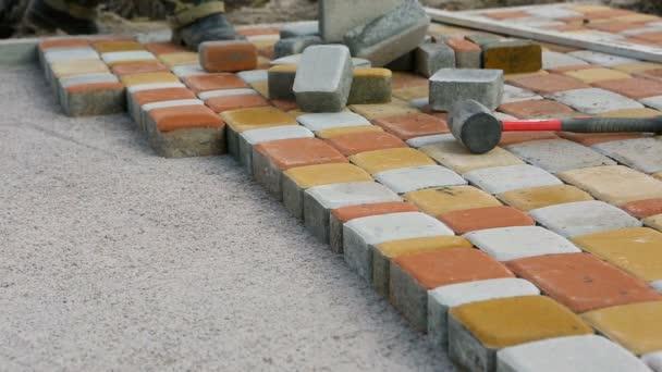 Dlažební desky, kterým podle detail mozaiky. Silniční dlažby, stavebnictví
