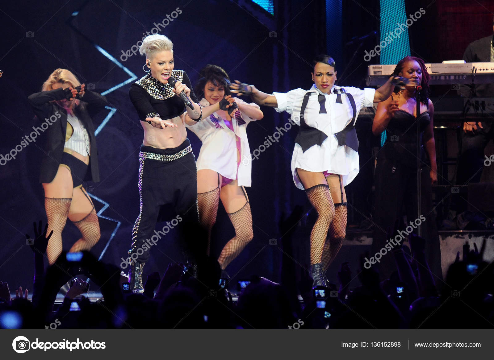 Popular american singer pink stock editorial photo yakub88 prague czech republic may 10 2013 american singer alecia beth moore alias pink second from left during her performance in prague czech republic voltagebd Image collections