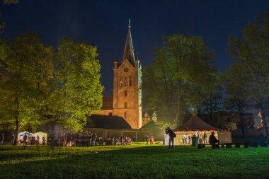 Museum night, Latvia, city Cesis. Photographer, church, peoples.