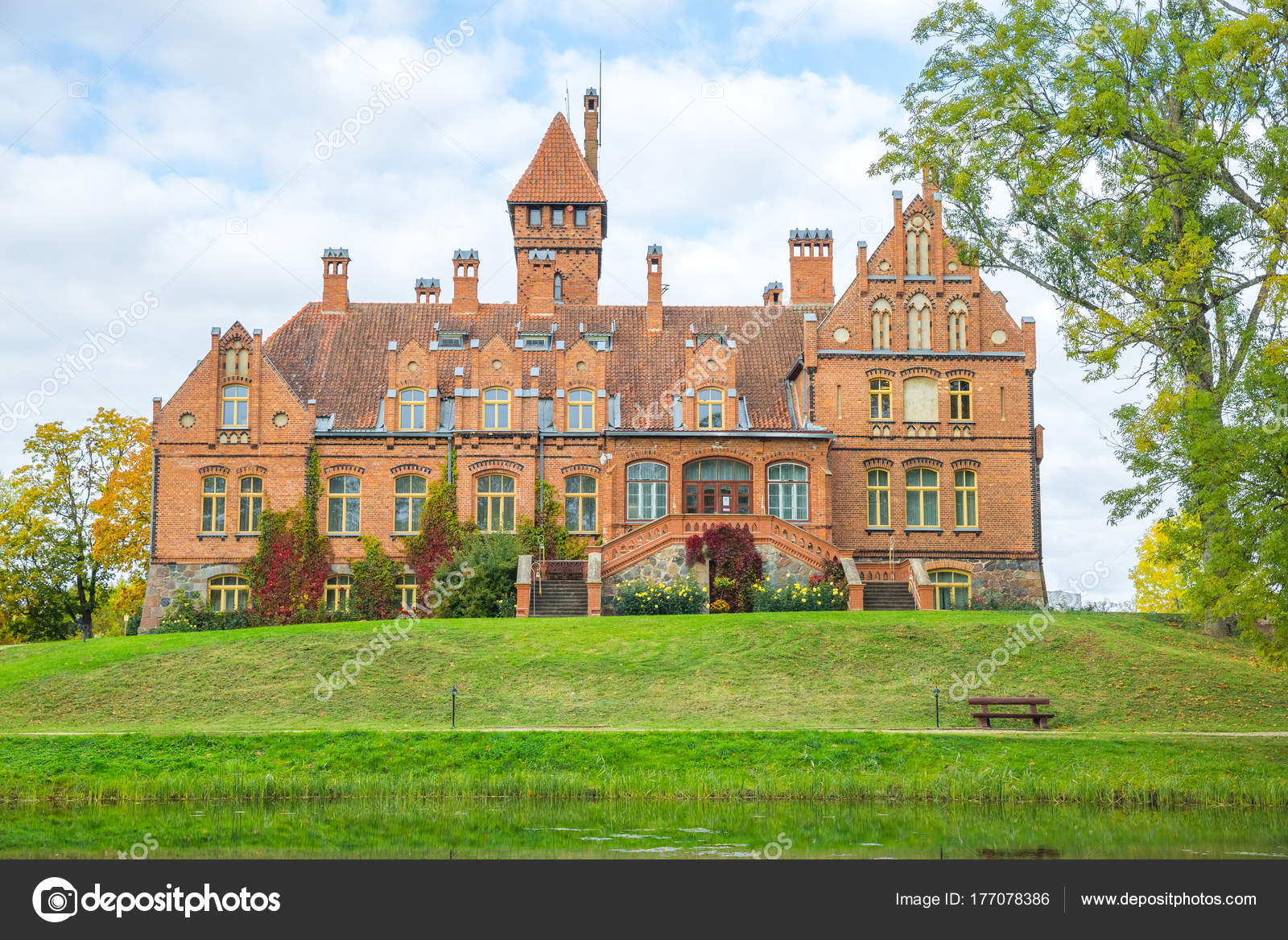 latvia old red castle with orange roof old building style 2015 its travel photo photo by ynos21