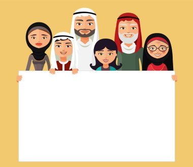 Arab family, muslim people, saudi cartoon man and woman. Muslim family with sign. Vector. clip art vector