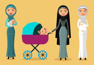 Happy Arab woman with a newborn baby in a flat stile. Mother with children flat cartoon vector illustration. Eps10. Isolated