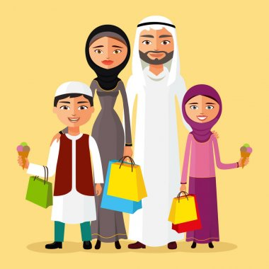Vector illustration arabian man, woman and children shopping flat cartoon vector illustration. Eps10. Isolated on background. clip art vector