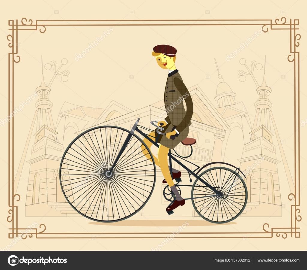 Retro Signore Con I Baffi Su Una Bicicletta Su Priorità Bassa Della