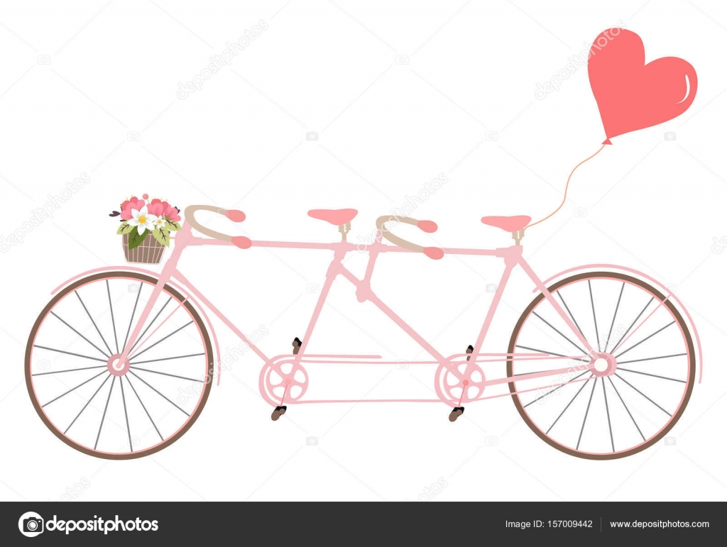 Tandem Bicycle with flowers, design element for wedding invitations ...