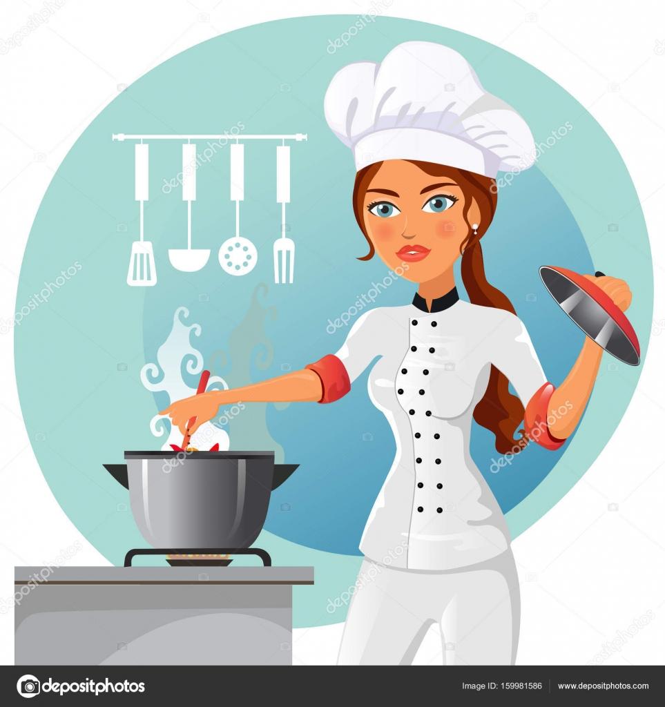 Desenhos Animados Chef Em Cozinha Vector Isolado No Fundo
