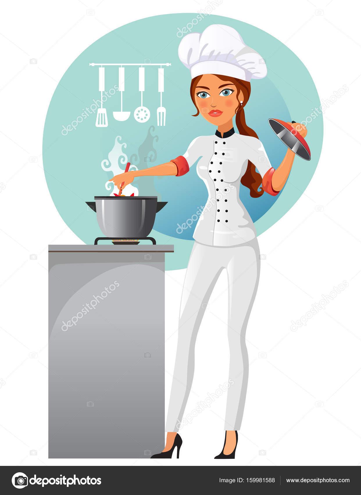 Vecteur De Dessin Animé Femme Chef Isolé Sur Fond Blanc Femme Dans