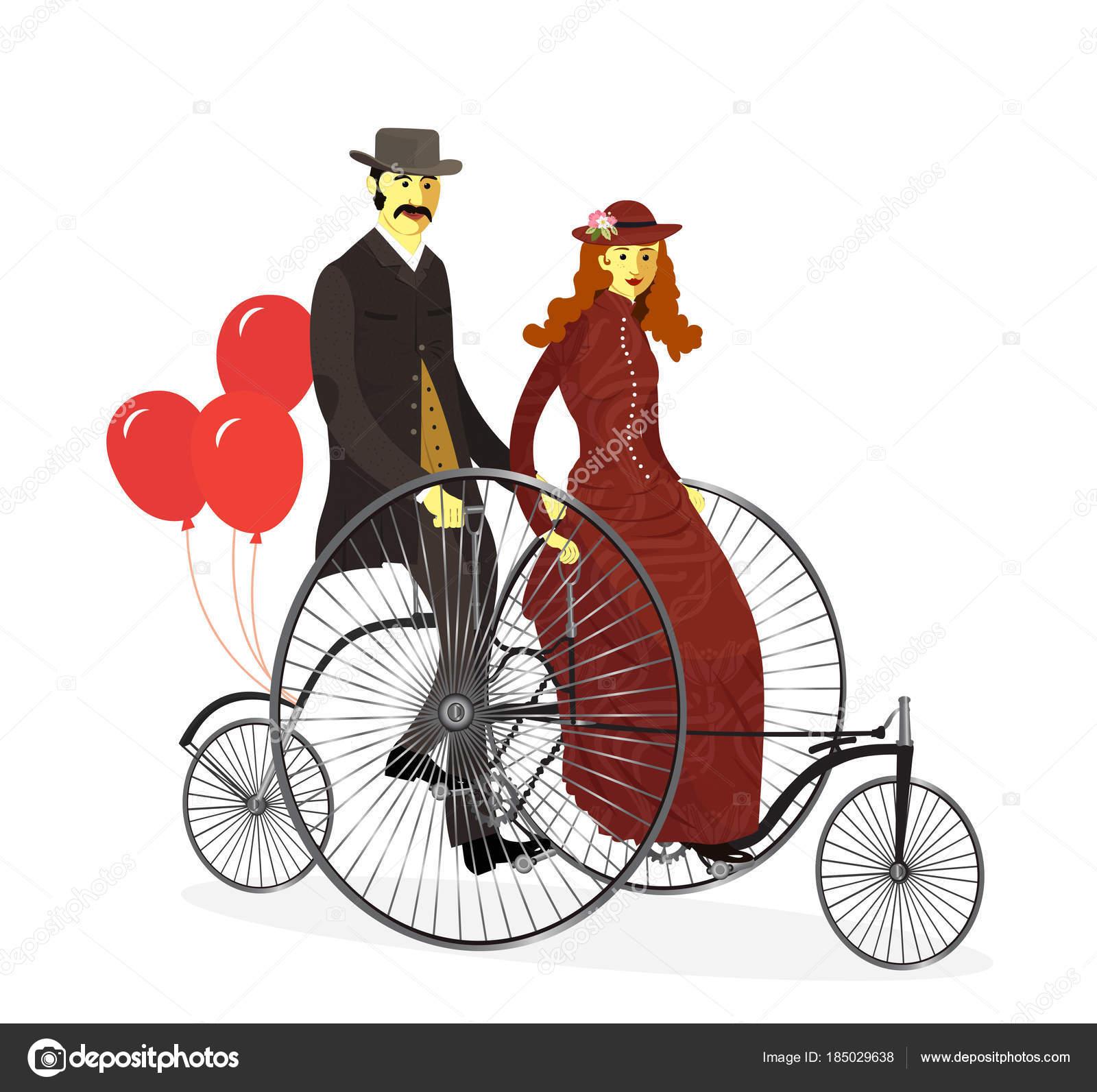 風船とのタンデム自転車で自転車のカップル。ベクトルの図。○ イラスト
