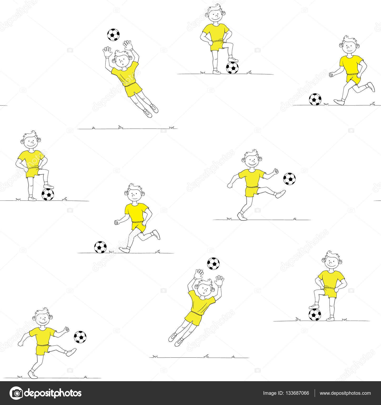 muchacho de patrones sin fisuras jugando al fútbol — Archivo ...