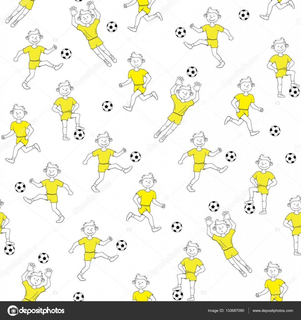 muchacho de patrones sin fisuras jugando al fútbol — Vector de stock ...