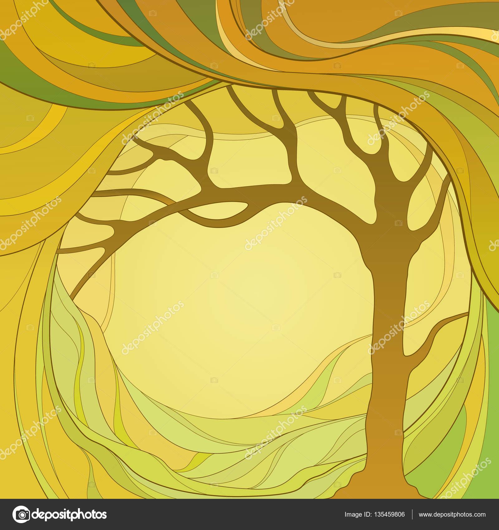 Красочная абстрактная графическая иллюстрация с деревьями ...