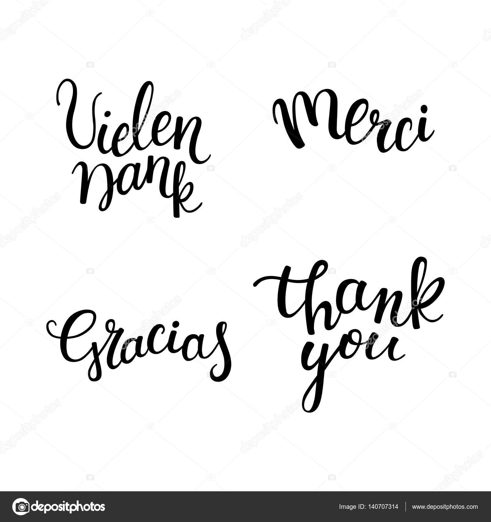 schriftzug danke in verschiedenen sprachen: deutsch, französisch, Einladung