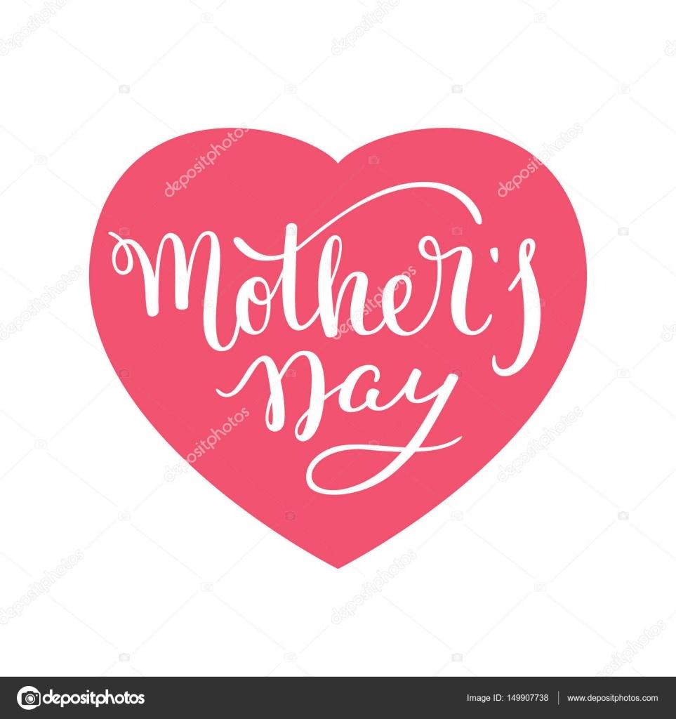 Etiquetado día de la madre con el corazón a mano. Tarjeta de ...