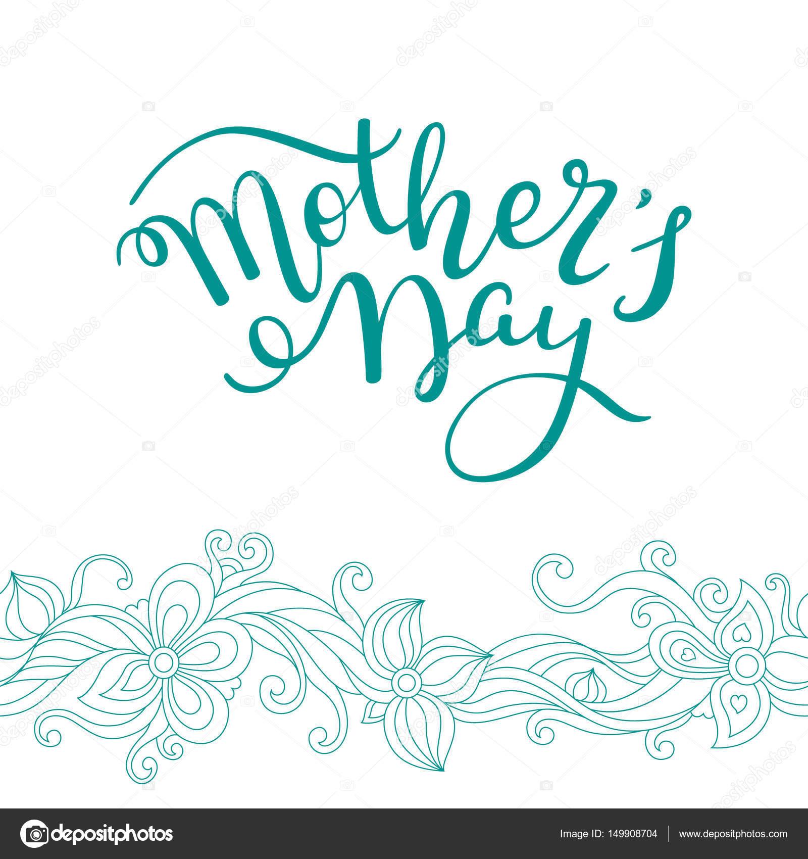 Etiquetado día de la madre con flores a mano. Tarjeta de ...