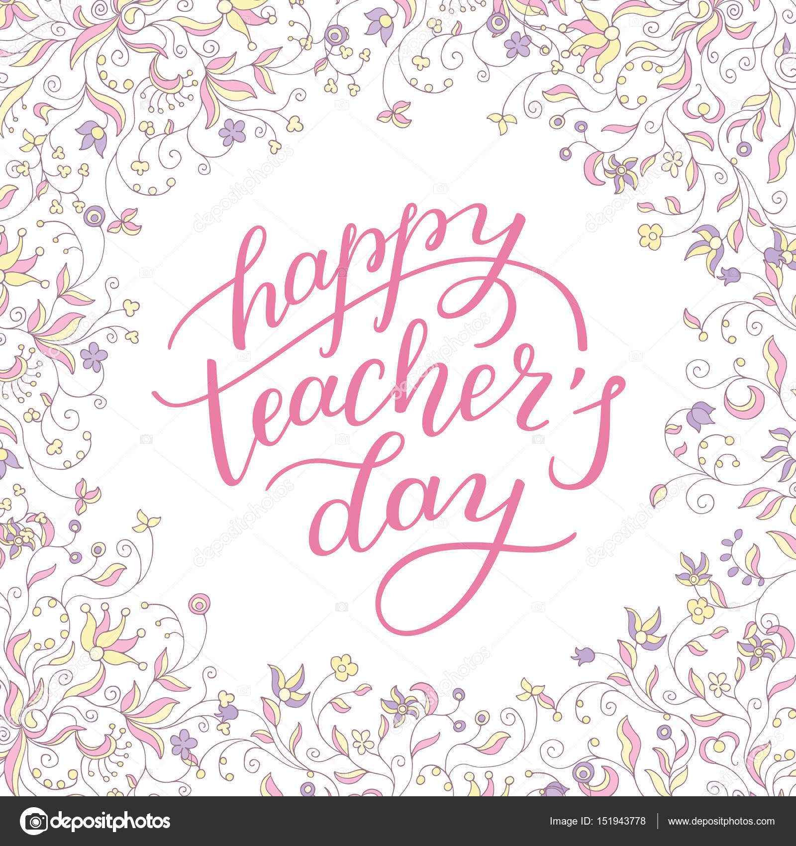 Happy teachers day hand lettering with flower frame stock happy teachers day hand lettering with flower frame template for greeting card poster print vector by homari m4hsunfo Image collections