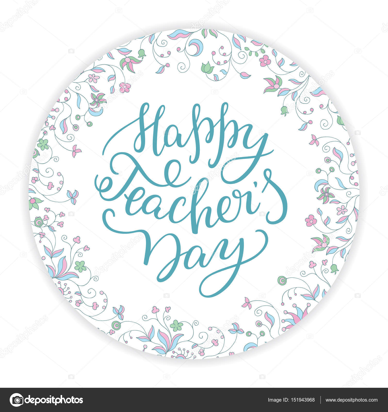 Happy Teachers Day Hand Lettering With Round Flower Frame