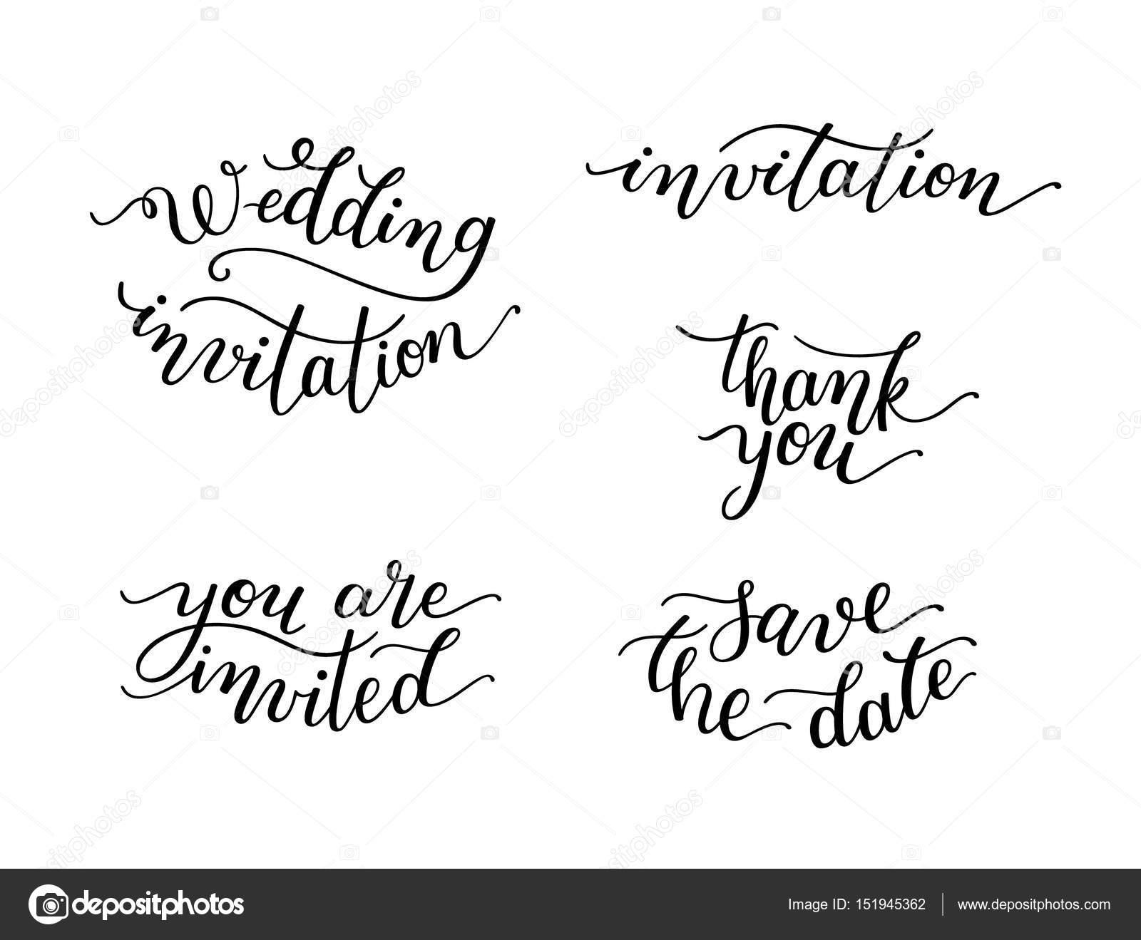 Conjunto de letras para invitaciones de bodas de la mano Vector