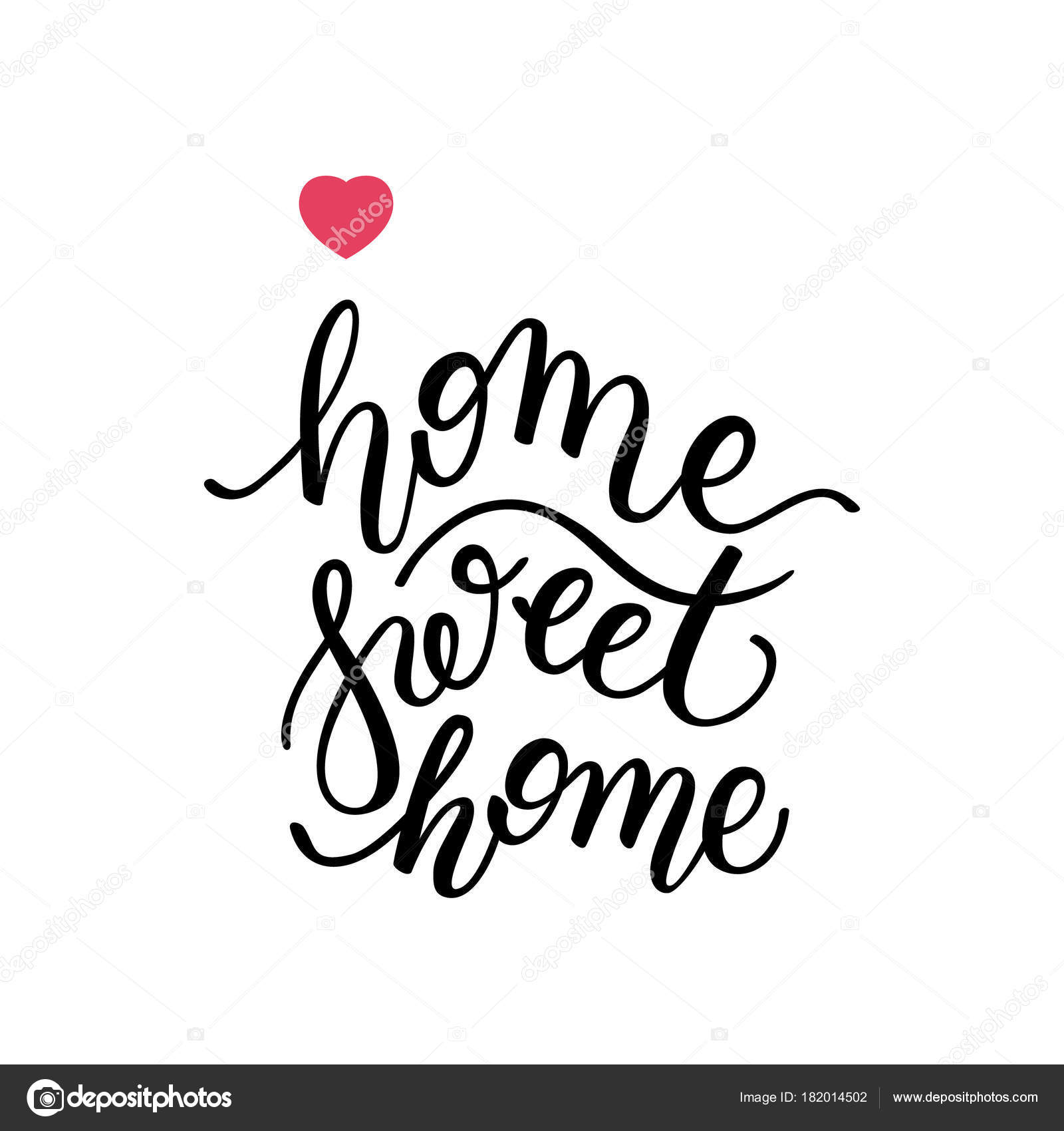 home sweet home hand lettering template card poster print stock