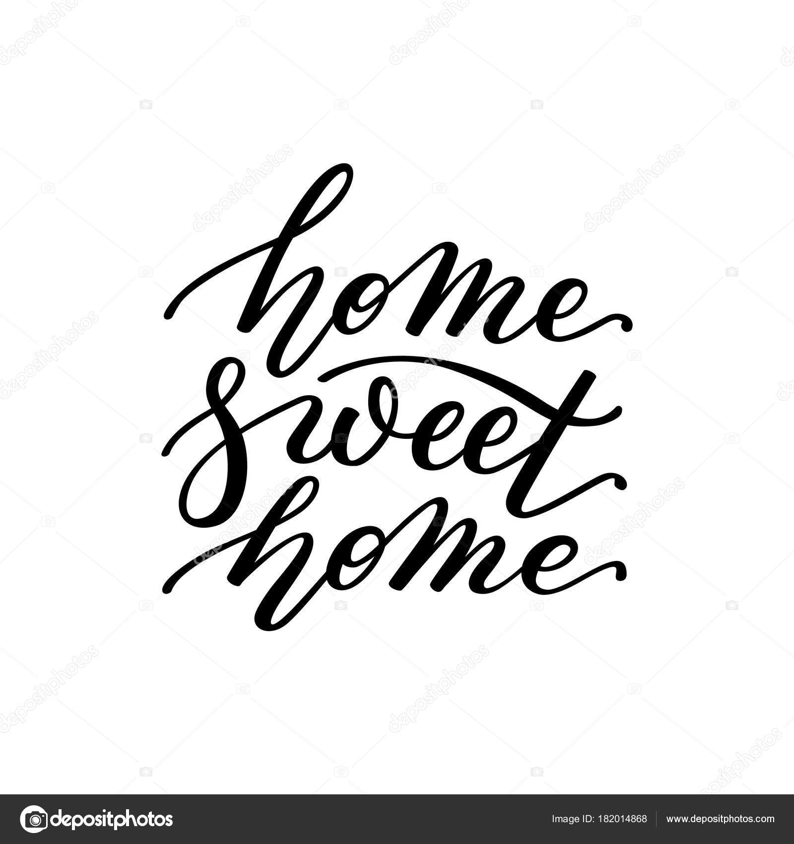 home sweet home hand lettering template for card poster print