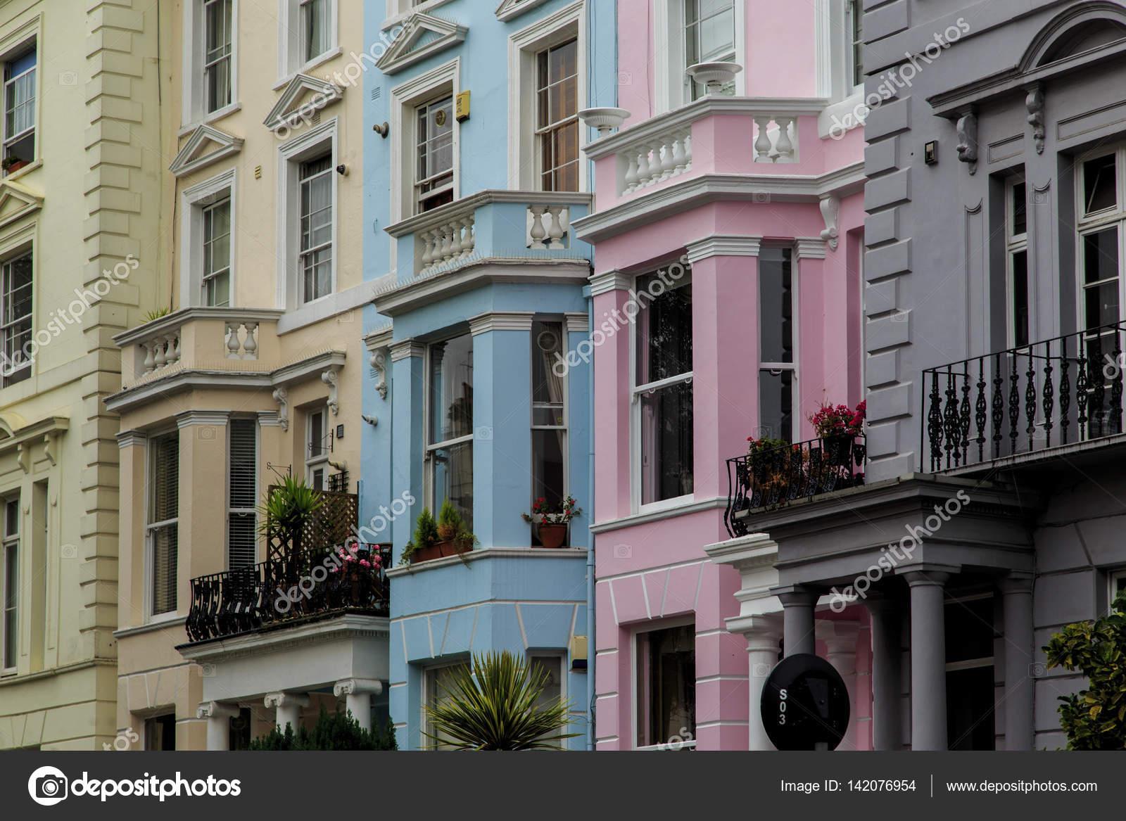 Kleurplaten Van Huizen : Veelkleurige huizen in notting hill londen u redactionele