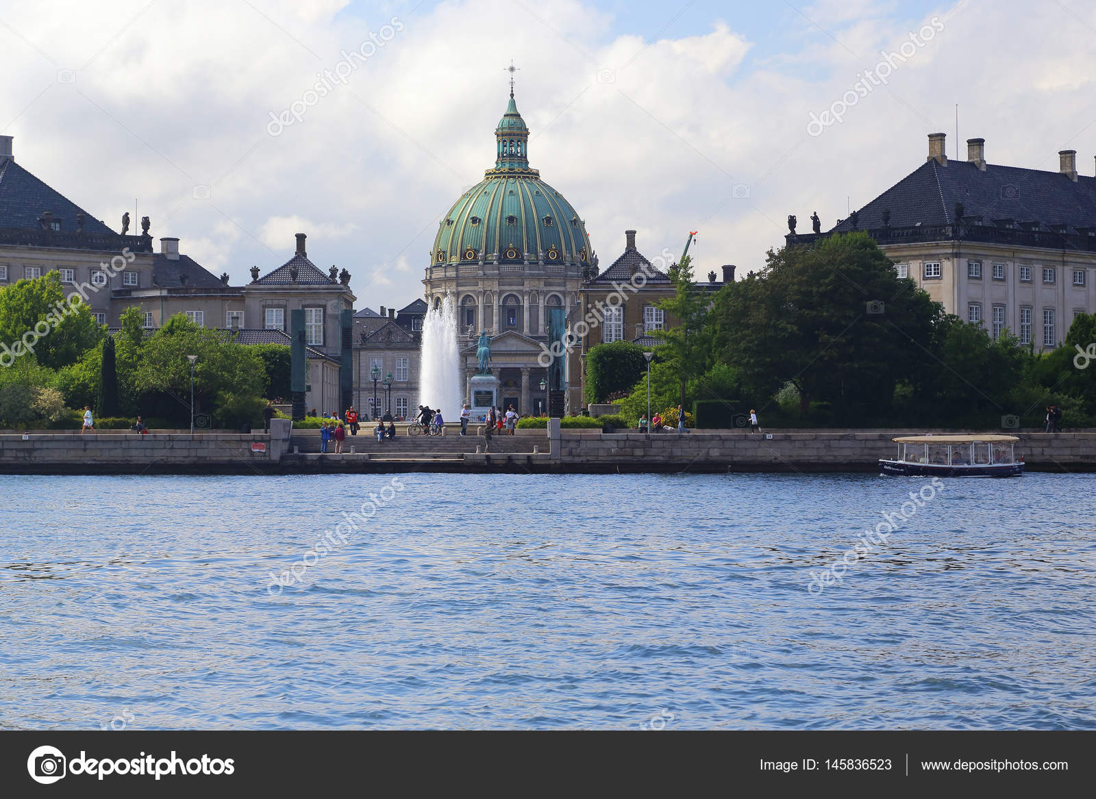 copenhagen denmark june 29 2016 it is amalienborg castle square and marble church from the seaside photo by goga18128mailru