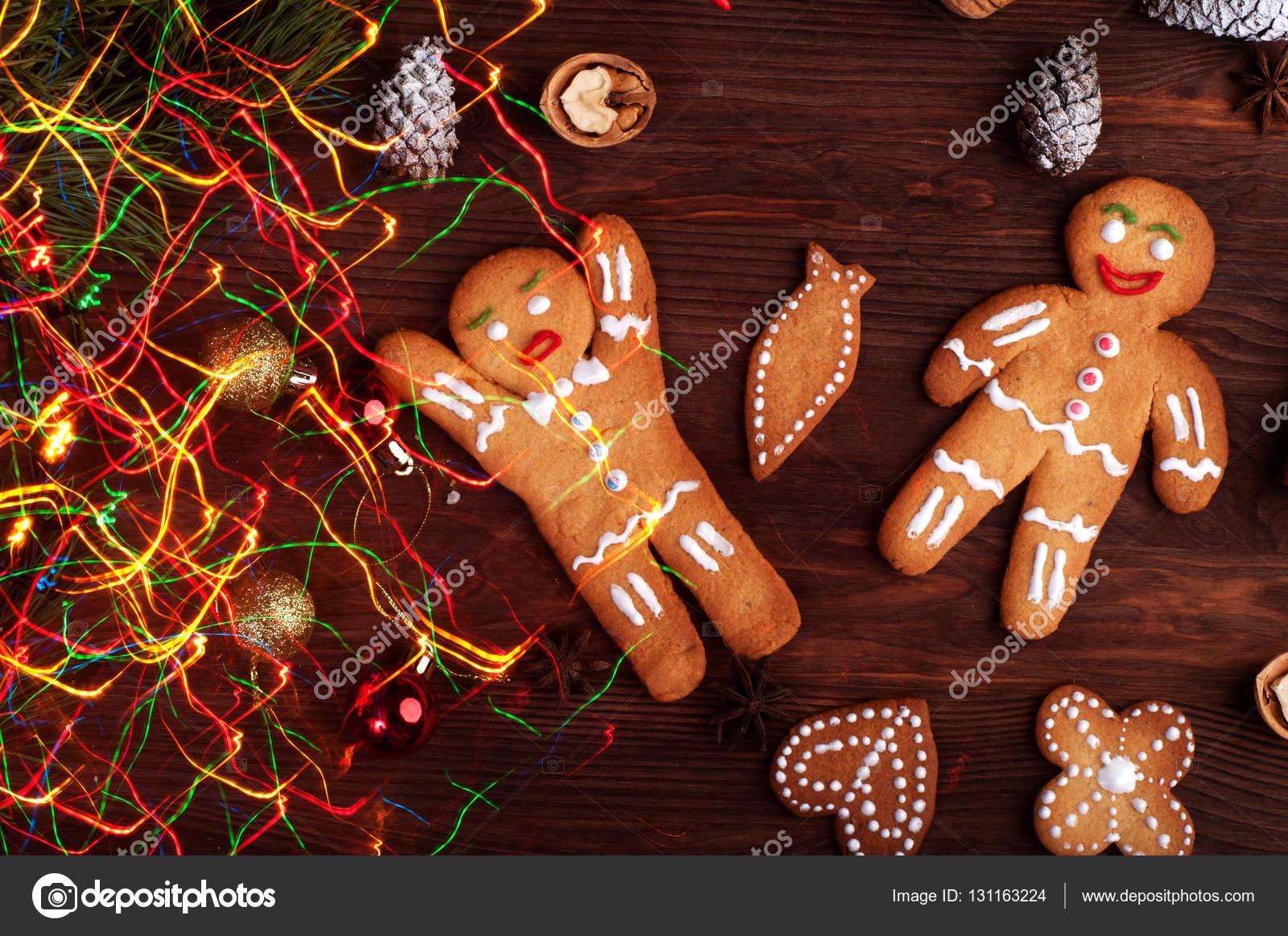 Christmas And New Year Wallpaper Background Gingerbread Man Toys Decorations Nuts Cinnamon Anise Other Attributes Of The Nativity
